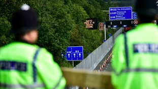 Police on bridge