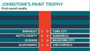 Johnstone's Paint Trophy first round results