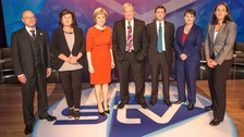 Members of the Yes and No campaigns with STV political editor Bernard Ponsonby (centre)