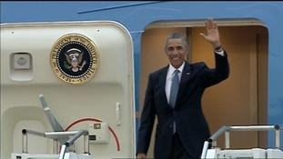President Obama arriving in Estonia this morning.