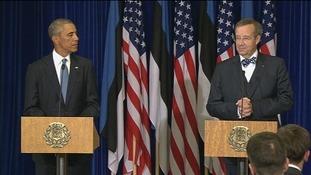 Estonian President Toomas Hendrick with US President Barack Obama.