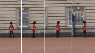 The soldier performed stunts while on duty guarding Buckingham Palace.