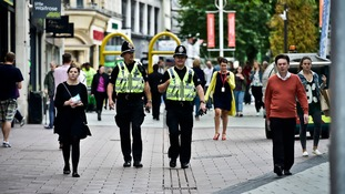Police on the beat around Cardiff Shopping Centre.