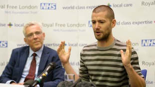William Pooley at the press conference watched on by David Sloman, Chief Executive of the Royal Free Hospital