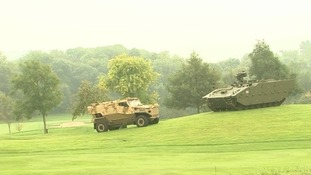 Military hardware near the fairway