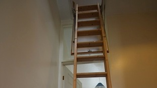 Stairs up to the loft space
