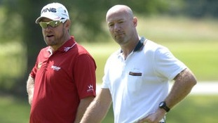 Alan Shearer alongside Lee Westwood at a charity golf day last year