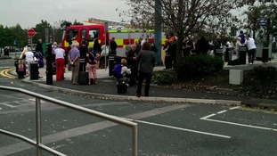 Passengers outside Leeds Bradford Airport