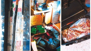 The IED on the left. The centre picture shows a selection of findings. The right picture shows a bag of bullet casings.