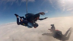 Peter Proctor taking part in his sky dive