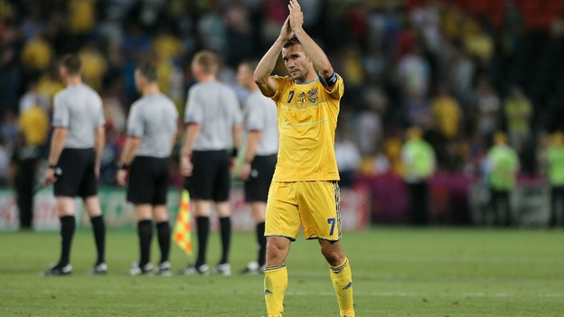 Ukraine captain Andriy Shevchenko applauds