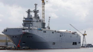 A Mistral-class helicopter carrier.