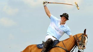 Prince Harry in action during a Polo match when he captained Sentebale against St Regis, for charity at Campinas in Brazil.