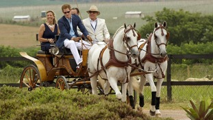 Prince Harry steers a coach and horses into the Polo field at the Haras Larissa Hotel complex