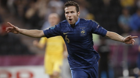France midfielder Yohan Cabaye celebrates his goal.