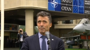 Nato Secretary General Anders Fogh Rasmussen speaking outside the summit venue in Wales