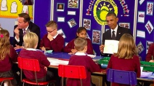 In pictures: The moment President Obama greeted schoolchildren in Welsh