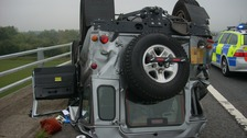 Lucky escape for the two passengers of this Land Rover