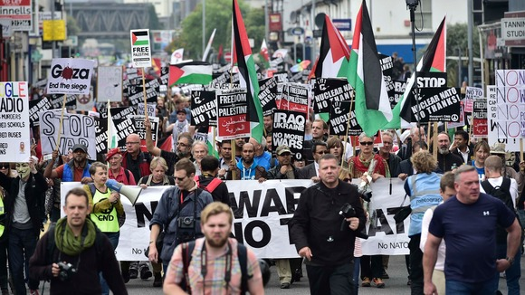 Protestors marching through Newport, Wales