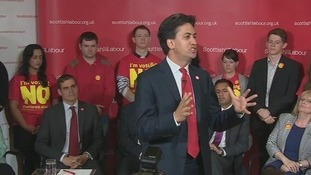 Ed Miliband addresses Labour voters in Scotland.