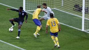 England striker Danny Welbeck scores the winner against Sweden.