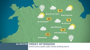 Midlands weather map for Friday afternoon