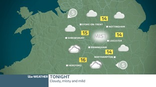 Midlands weather map for Thursday night