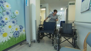 Image of large wheel chairs in hospital