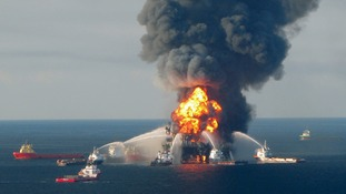 Fire boat response crews battle the blazing remnants of the offshore oil rig Deepwater Horizon in April 2010.
