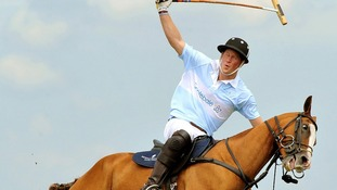 Prince Harry in action during a Polo match when he captained Sentebale against St Regis, for charity at Campinas in Brazil