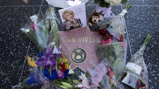Fans left flowers and tributes on Rivers' Hollywood Star of Fame.