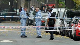 Police at the scene in Shepperton Road, Islington, London