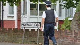 Police on Nightingale Road, Edmonton, north London