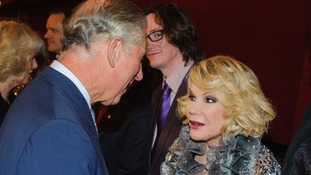 Prince Charles talks to Joan Rivers at the Royal Albert Hall in 2012.