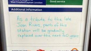 """As a tribute to the late Joan Rivers, parts of this station will be gradually replaced over the next 40 years."""