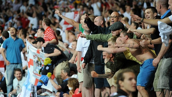 England fans enjoy their team's first victory of Euro 2012.