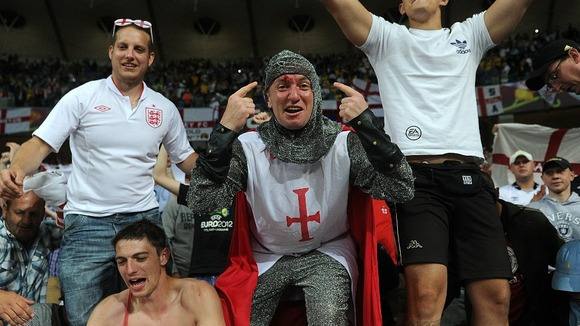 England fans in full voice after the final whistle in Kiev.