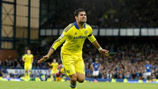 Diego Costa celebrates after scoring for Chelsea in the Premier League.
