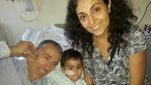 Ashya King with his parents at a hospital in Malaga