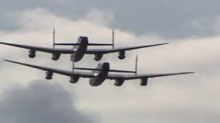 The last two airworthy Lancaster Bombers in flight