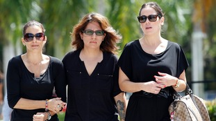 Cousins of Steven Sotloff attend the memorial service in Florida on Friday.