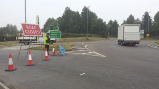 Diversions in place on A38