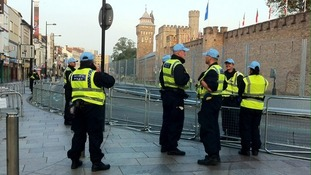 Police outside Cardiff Castle