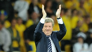 England manager Roy Hodgson celebrates victory after the final whistle