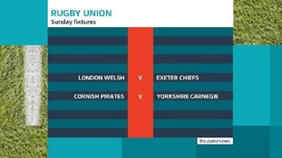 Sunday's rugby fixtures.