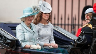 The Duchess of Cornwall (left) and the Duchess of Cambridge