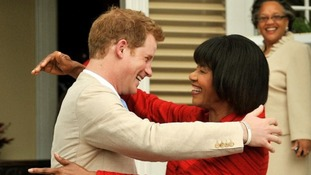 Prince Harry and the Jamaican Prime Minister Portia Simpson Miller