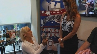 Martina Navratilova proposes to her girlfriend of six years Julia Lemigova.