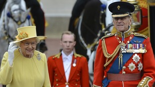 The Queen and Duke of Edinburgh at the Trooping the Colour ceremony.