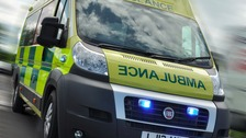 A motorcyclist was airlifted to hospital after a serious accident in Staffordshire yesterday